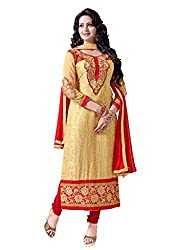 Livaaz Womens Faux Georgette Salwar Unstitched Dress Material (Sf100410 _Beige)