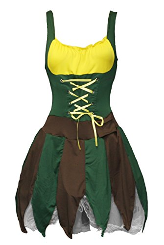 [BSLINGERIE® Naughty Forest Green Fairy One Piece Dress Costume Set (M, Green)] (Robin Corset Costume)