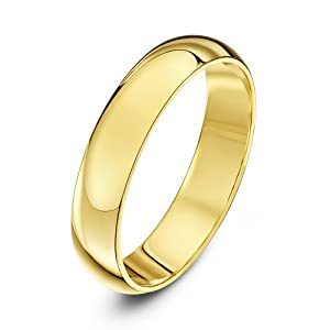 Theia 9ct Heavyweight D Shape Wedding Ring - 4 mm, Yellow Gold, Size T