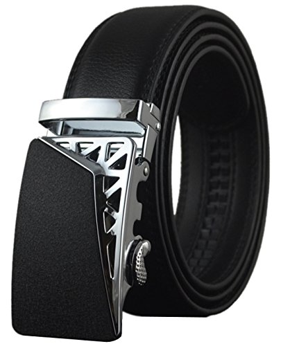QISHI YUHUA PD Mens Fashion trends Black 05 Cowhide Leather Belt Automatic Buckle Belt