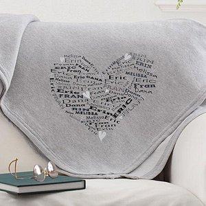 Personalized Sweatshirt Fleece Blanket - Heart Of Love