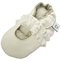 Dotty Fish Baby Girls Soft Leather Shoe with Suede Soles White Princess Christening 0-6 Months to 12-18 Months