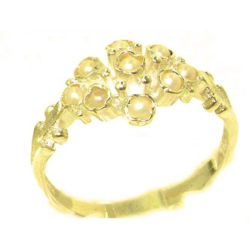 Unusual Solid Yellow Gold Natural Pearl Ring with English Hallmarks - Size 6.75 - Finger Sizes 5 to 12 Available