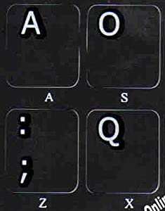 DVORAK NON TRANSPARENT BLACK BACKGROUBD STICKERS FOR PC KEYBOARDS LAPTOPS DESKTOP