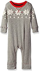 Burt's Bees Baby Boys' Organic Thermal V Inset Coverall, Heather Grey Fair Isle, 3-6 Months