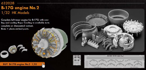 EDU632028 1:32 Eduard Brassin B-17G Flying Fortress Engine No.2 Set Set (for the HK Models model kit) MODEL KIT ACCESSORY