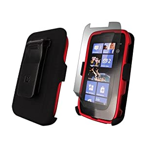 3 in 1 Combo Case & Holster for Nokia Lumia 710, Red