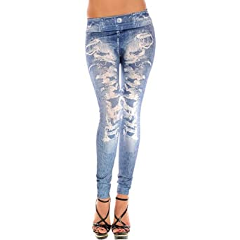 Amour - New Stylish Denim Look Ripped Faux Jean Blue Leggings Tights Pants (Blue)