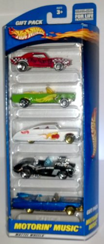 2000 Hotwheels 5 Car Motorin' Music Gift Pack Rare and Out of Production