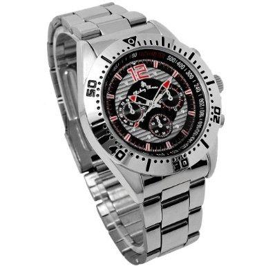 Disney ディズニー ミッキー クロノモデル 回転ベゼル 腕時計 ブラック 黒 クォーツ スワロフスキー 銀【並行輸入品】