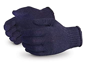 Superior SQBUD SureKnit Cotton/Polyester Economy String Knit Glove with PVC Dotted Palms, Work, 7 Gauge Thickness, Small, Blue (Pack of 1 Dozen)