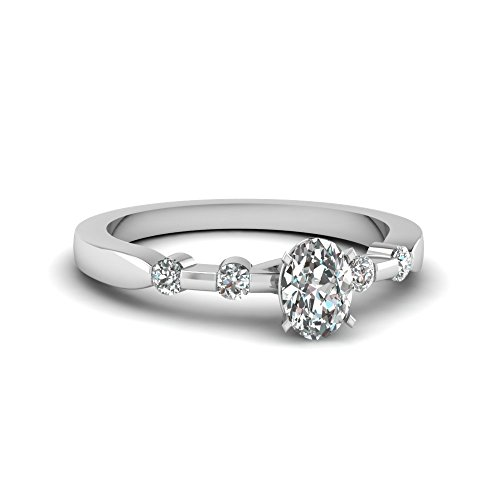 Fascinating Diamonds Tetrad Series Engagement Ring Bezel Set 0.45 Ct Oval Shaped D-Color Diamond 14K Gia