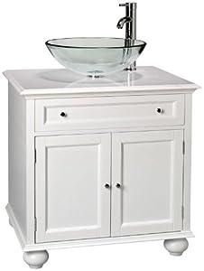 Hampton Bay 2 door Vessel Sink Cabinet, WHITE MARBLE, WHITE