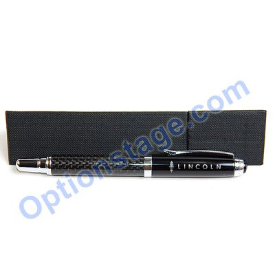 Lincoln Logo Real Carbon Fiber Official Licensed Roller Ball Pen with Detachable Cap (Black Ink)