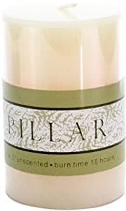 HomArt Pillar Paraffin Wax Candle, 3-Inch, Ivory