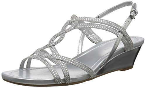Bandolino Women's Gilnora Wedge Sandal, Silver, 8.5