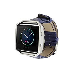 Fitbit Blaze Leather Watch Band, Elobeth Soft Leather Band Wrist Watch Replacement Band Adjustbable Bracelet for Fitbit Blaze Smart Fitness Watch (Crocodile Blue)