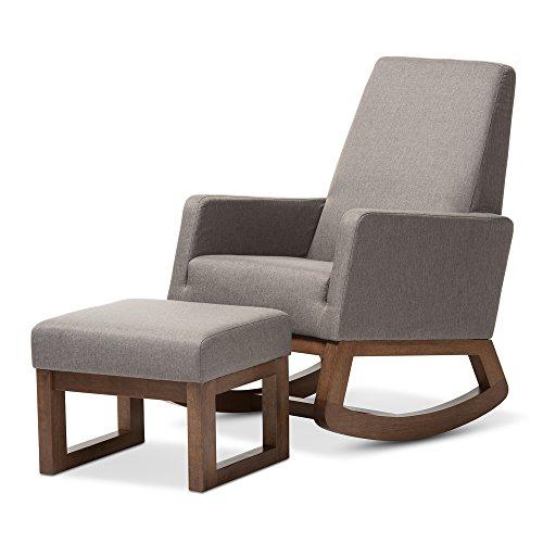 Baxton Studio Yashiya Mid Century Retro Modern Fabric Upholstered Rocking Chair, Grey 4