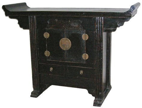 """Simple, Beautiful, Unique - 51"""" Refurbished Chinese Country Antique Black Lacquer Altar Cabinet Buffet"""