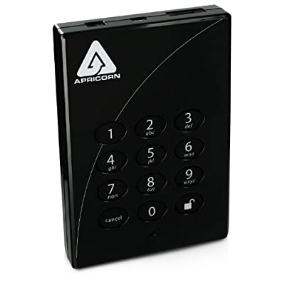 Apricorn Direct Padlock 256-bit 2 TB eSata USB 2.0 External Hard Drive A25-PLe256-2000, Black