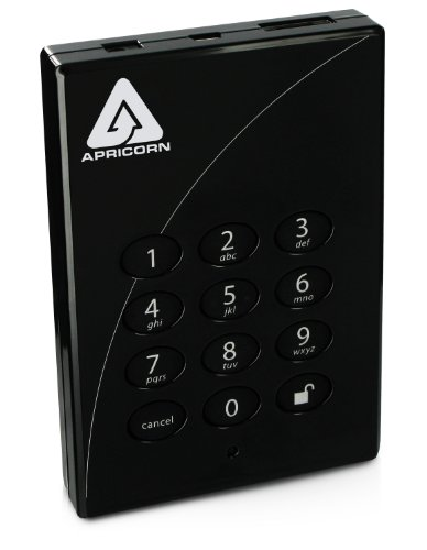 Apricorn Aegis Padlock Pro 640 GB USB 2.0 and eSATA 256-bit Encrypted Portable External Hard Drive A25-PLe256-640 (Black)