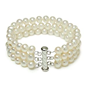 Sterling Silver 3-Row White A Grade 6.5-7mm Freshwater Cultured Pearl Bracelet, 7.25""