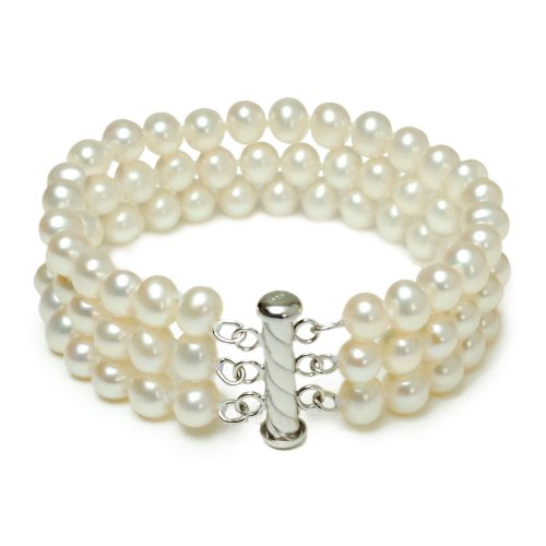Sterling Silver 3-Row White A Grade 6.5-7mm Freshwater Cultured Pearl Bracelet, 7.25