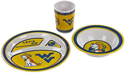 BSI Products 31112 West Virginia Mountaineers Kids Dish Set - 1