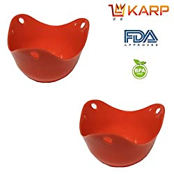 """KARPâ""""¢ Silicone Egg Poacher Cups Molds -BPA free, FDA approved, 100% food grade silicone,Set of 2 BPA Free Poaching Pods for Cooking Perfect Poached Eggs - Microwave or Stovetop Egg Cooker- Red"""