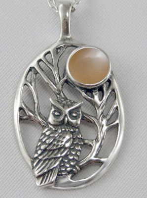 Sterling Silver Sacred Owl Pendant Accented with Genuine Peach Moonstone and Made in America