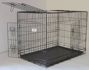 3 Door Pet Folding Dog Crate Cage Kennel w/ABS Tray - 48 Inches