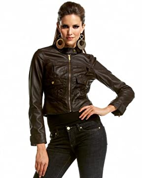 bebe.com : Leatherette Motorcycle Jacket from bebe.com