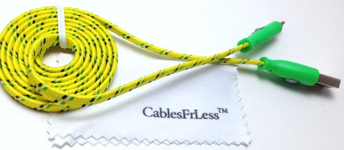 Cablesfrless 3Ft Color Changing Light Up High Quality Braided Noodle Micro Usb B Charging / Data Sync Cable Fits Most Android Devices (Yellow)