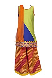 Twisha Girls' Blended Salwar Suit (PLZ-XP-AW10A_Lime-Cobalt_3-4 Years)