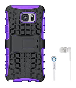 Chevron Hybrid Military Grade Armor Kick Stand Back Cover Case for Samsung Galaxy Note 5 With Chevron 3.5mm White Stereo Earphones (Purple)