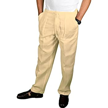 Natural linen drawstring pants for men