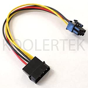 "4-Pin Molex Male to 6-Pin PCI-E Female Power Adapter Cable (8"" Length)"