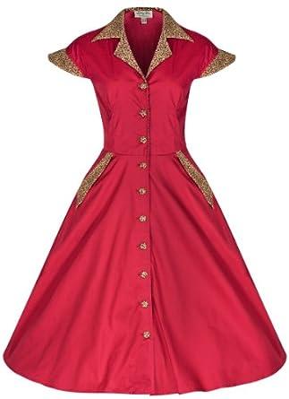 Lindy Bop 'Jeanette' Vintage 1950's Robe, Chemise en Coton (36, Rouge/Léopard)