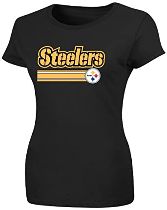 NFL Womens Pittsburgh Steelers Franchise Fit III Short Sleeve Crew Neck Tee (Black, X-Large)