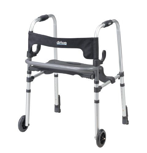 Drive Medical Clever-Lite Ls Rollator Walker With Seat And Push Down Brakes, Gray front-923901