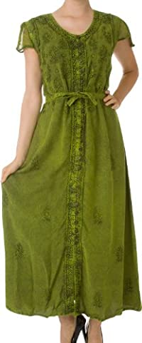 Sakkas Stonewashed Embroidered Cap Sleeve Maxi Long Dress