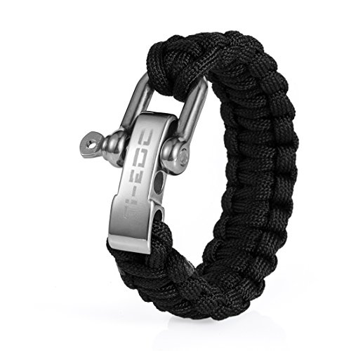 TI-EDC Handwoven Paracord Outdoor Survival Bracelet With Stainless Steel Shackle Buckle - Best Fit 7 to 8 inch Wrists(Black)