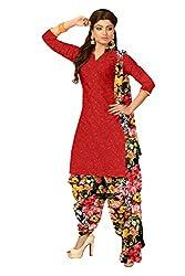 Khushali Presents Crepe Dress Material(Red,Multi)