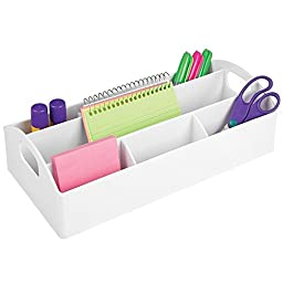 mDesign Portable Office Supplies Desk Organizer for Crafts, Pens, Markers, Sticky Notes, Tape, Envelopes - White