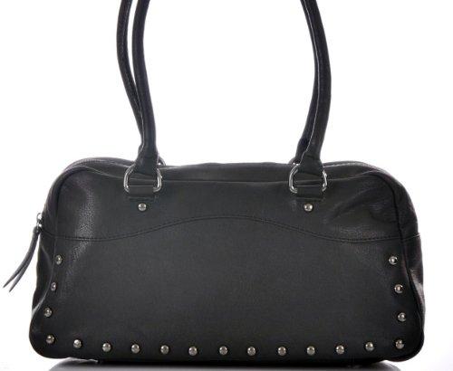 CONTEMPO Cntmp Bowling-Bag Shopper Echt Leder Tasche Handtasche Schwarz