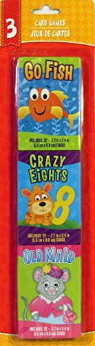 Three Classic Card Games - Go Fish, Crazy Eights, and Old Maid (1 Pack)