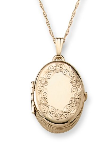 """14k Yellow Gold Filled Engraved Oval 4-Picture Locket, 18"""""""