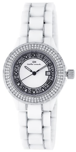 Carlo Monti Ladies Quartz Watch with Mother Of Pearl Dial Analogue Display and White Ceramic Bracelet CM201-186B