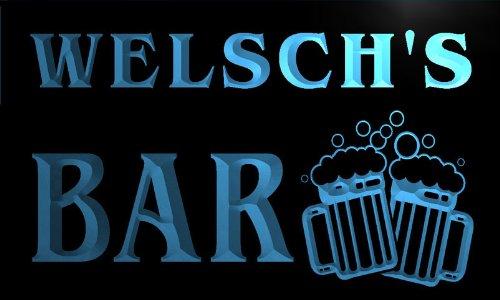 w010586-b WELSCH'S Nom Accueil Bar Pub Beer Mugs Cheers Neon Sign Biere Enseigne Lumineuse