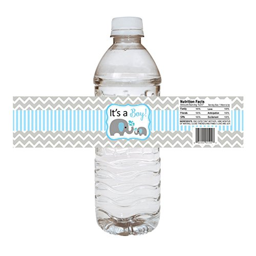 Baby Boy Elephant Water Bottle Labels - Baby Shower Party Drink Stickers in Blue - Set of 10 (Baby Blue Mason Jars compare prices)